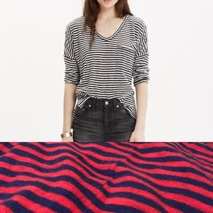 Madewell Melody Pocket Tee in Red and Navy Stripe